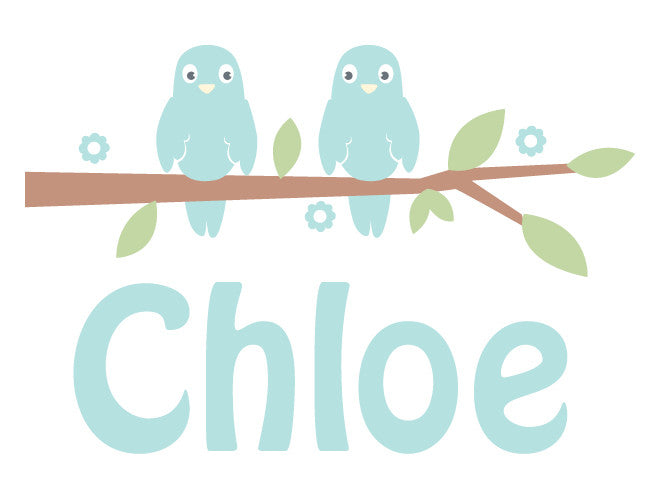 Personalized Love Birds Wall Decal