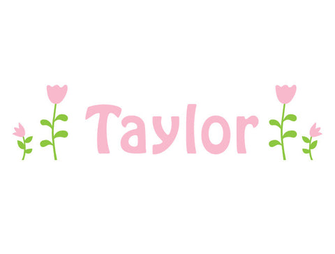 Personalized Tulip Garden Wall Decal
