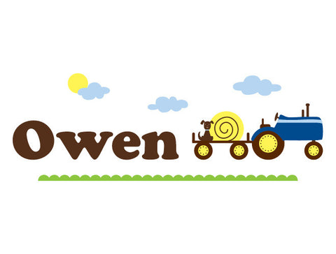 Personalized Tractor Wall Decal