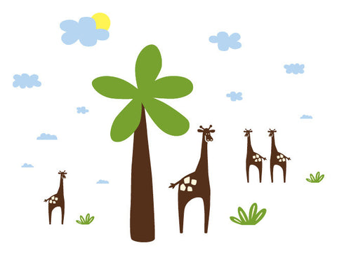 Palm Tree & Giraffe Wall Decal