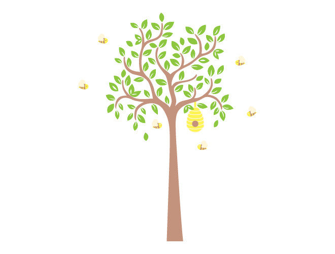 Tree with Bumblebees Wall Decal