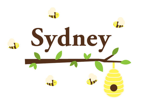 Personalized Beehive Branch Wall Decal