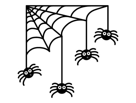 Halloween Spiders and Web Wall Decal