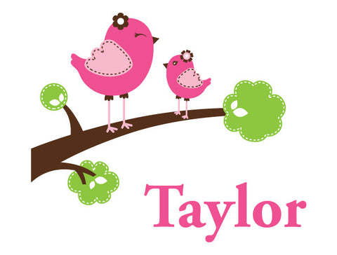 Personalized Happy Birds Wall Decal