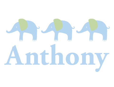 Personalized Elephant Parade Wall Decal - Boy
