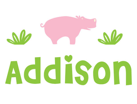 Personalized Hippo Wall Decal