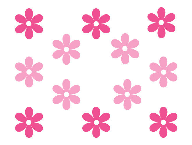 Six Petal Flower Wall Decals