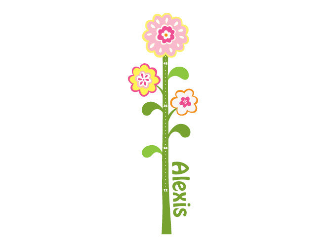 Flower Wall Decal Growth Chart Weedecor