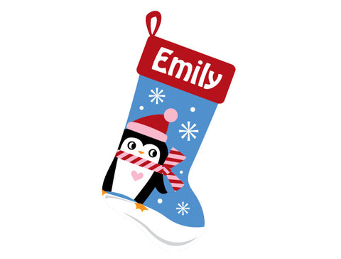 Personalized Penguin Stocking Wall Decal