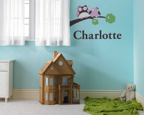 Personalized Happy Owls Wall Decal