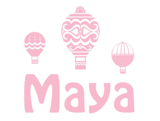 Premium Personalized Hot Air Balloon Wall Decal - Girl