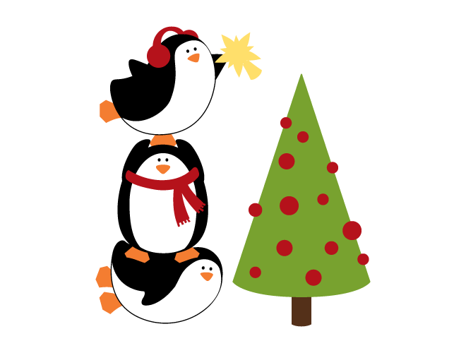 penguin christmas tree wall decal weedecor
