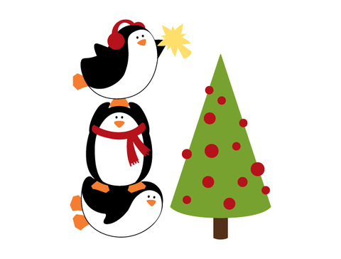 Penguin Christmas Tree Wall Decal