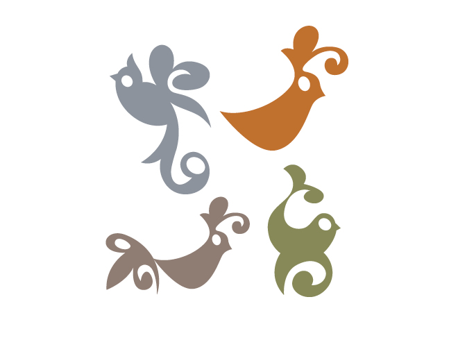 Four Spanish Bird Wall Decals by Tea