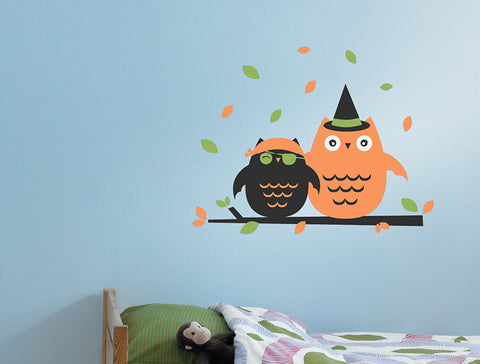 Halloween Costumed Owls Wall Decal