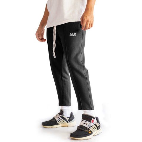 SAVS PINTUCK CROPPED SWEATS - BLACK