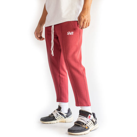 SAVS PREMIUM CROPPED SWEATS - BURGUNDY