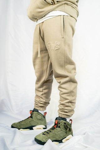 MUTED SAND EMBOSSED SWEAT PANTS