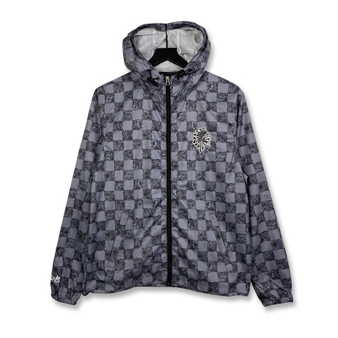 SAVS FLORAL CHECKER WINDBREAKER - GREY/BLACK