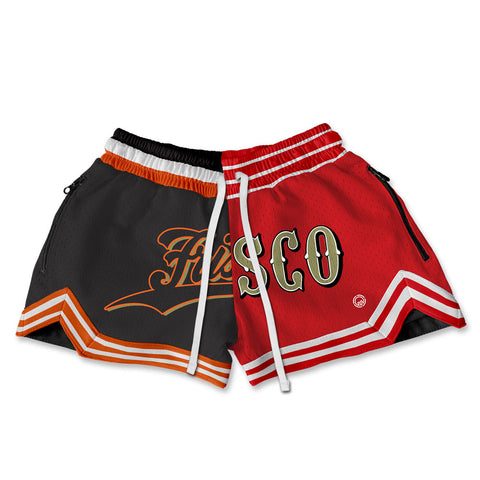 WOMEN'S FRISCO SPLIT HOOP SHORTS - BLACK/RED