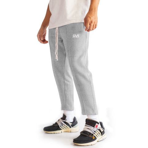 SAVS PINTUCK CROPPED SWEATS - HEATHER GREY