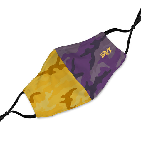 SAVS SPLIT CAMO FABRIC MASK V2 - PURPLE/GOLD