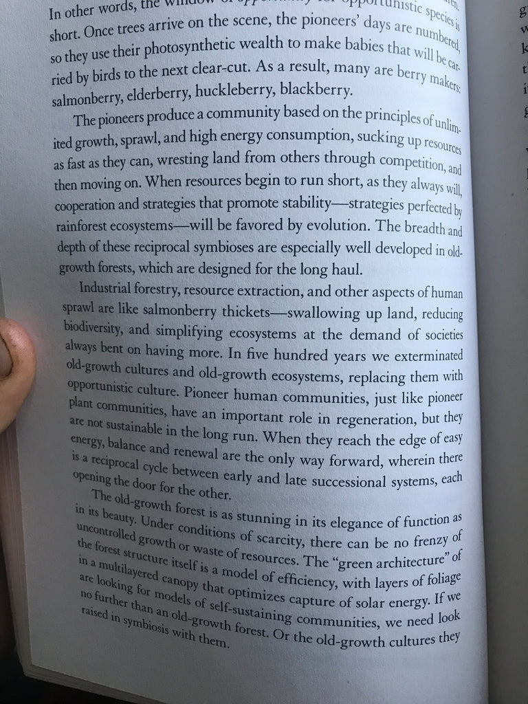 """A page from the book """"Braiding Sweetgrass"""""""