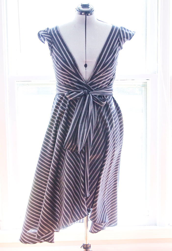 Custom Upcycled Natalie Stripe Wrap Dress