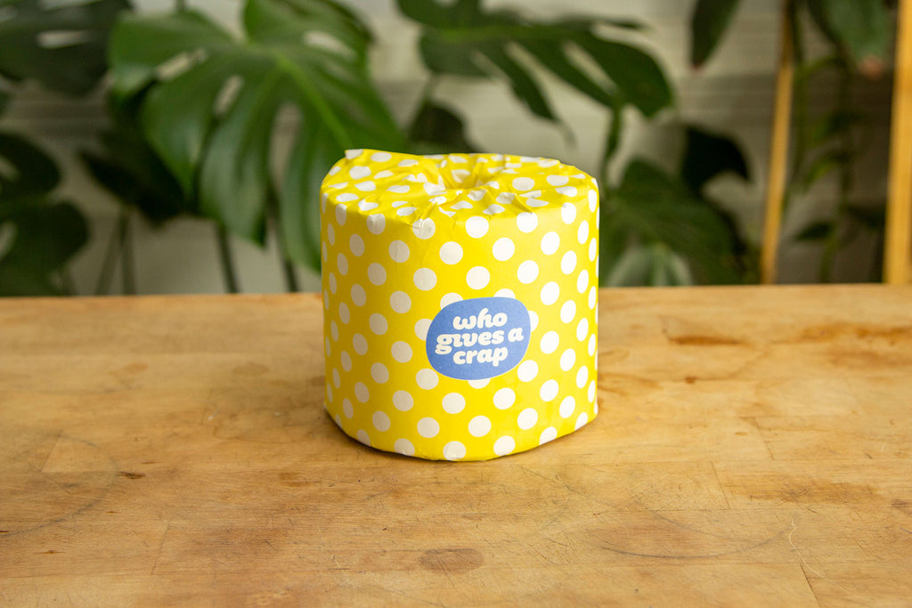 """A brightly wrapped toilet paper roll sits on a light wood colored table with greener in the background. The wrapping paper for the TP is yellow polka dots that reads """"Who gives a crap?"""""""