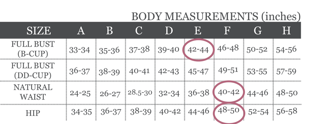 Grey and white digital image of the Olive Jumpsuit Body Measurement chart with 3 pink circles around the E B-cup Bust measurements and F Waist and HIp Measurements
