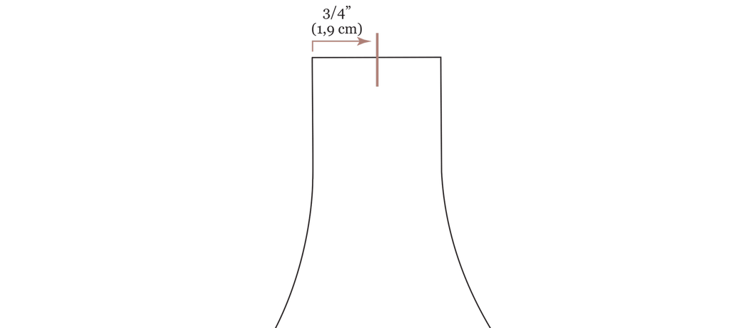 """A close up digital drawing of the olive jumpsuit bodice straw opening with an arrow pointing out the center point of the strap opening labeled 3/4"""" (1,9 cm)"""