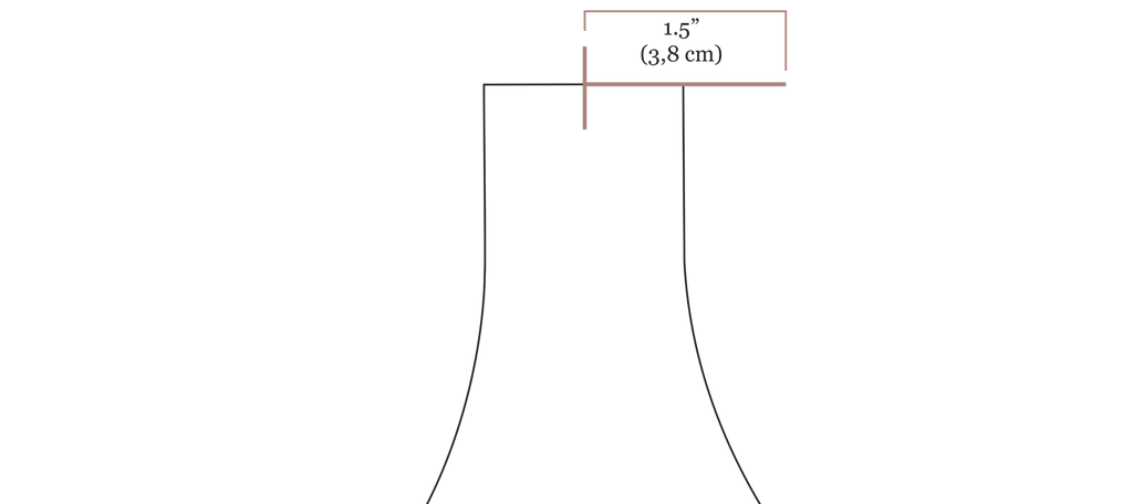 """A close up digital drawing of the olive jumpsuit bodice strap opening with a new line in pink drawn to the right of the strap with the label 1.5"""" (3,8 cm)"""