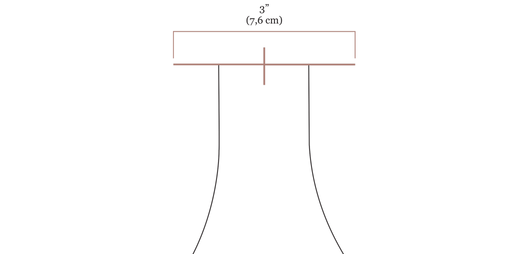 """A close up digital drawing of the olive jumpsuit bodice strap opening with a new line in pink drawn over the top of the strap opening with the label 3"""" (7,6 cm)"""