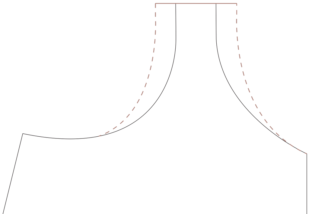 A close up digital drawing of the olive jumpsuit bodice strap opening, neckline, and armhole with a dashed line in pink drawn connecting the new strap opening with the curve of the neckline and the curve of the armhole