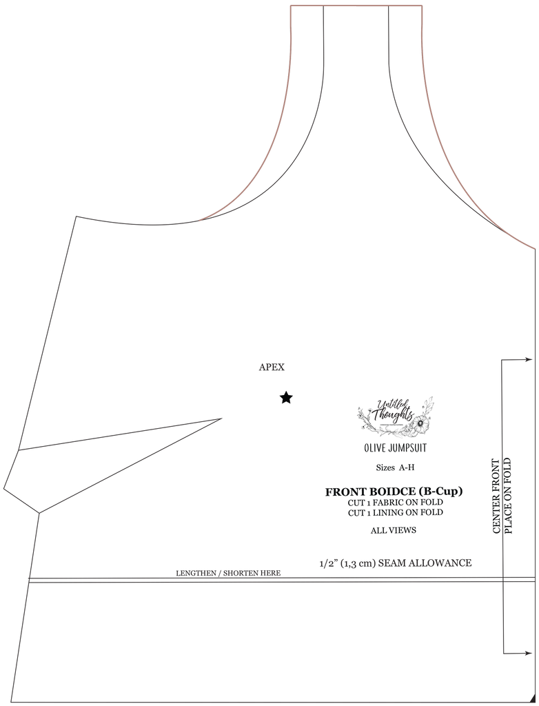 A digital drawing of the olive front bodice with a line in pink drawn connecting the new strap opening with the curve of the neckline and the curve of the armhole