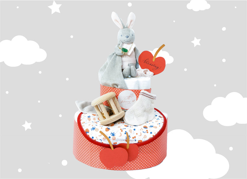 Apple Bunny Baby Diaper Cake