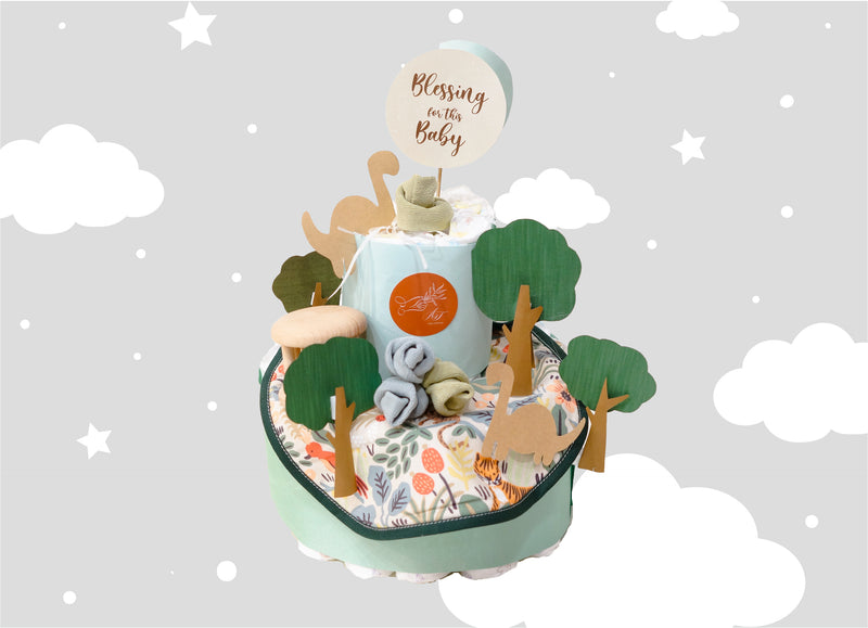 Green Forest Baby Diaper Cake