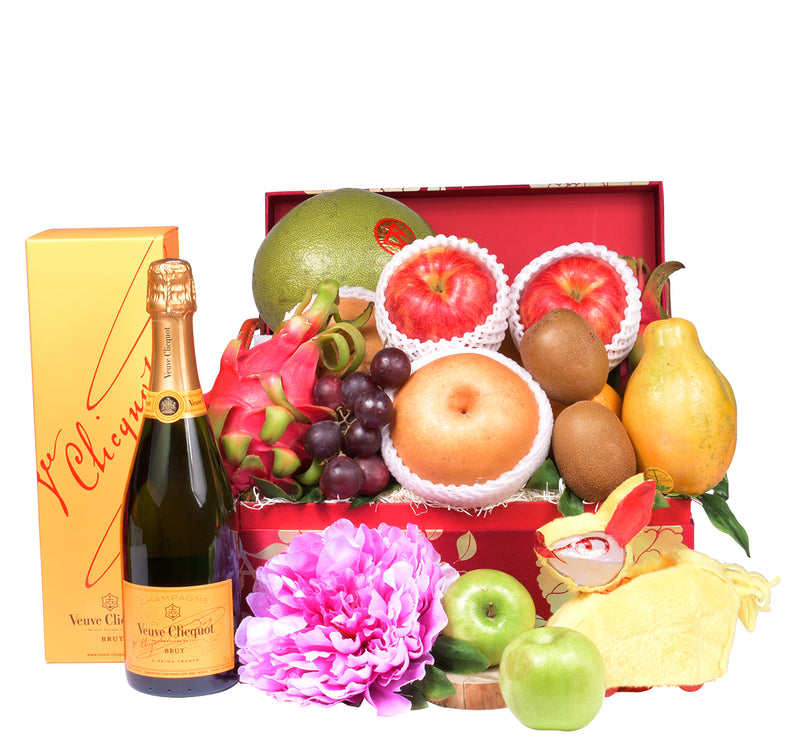 Gold Blossom Fruit Hamper with Wine or Champagne