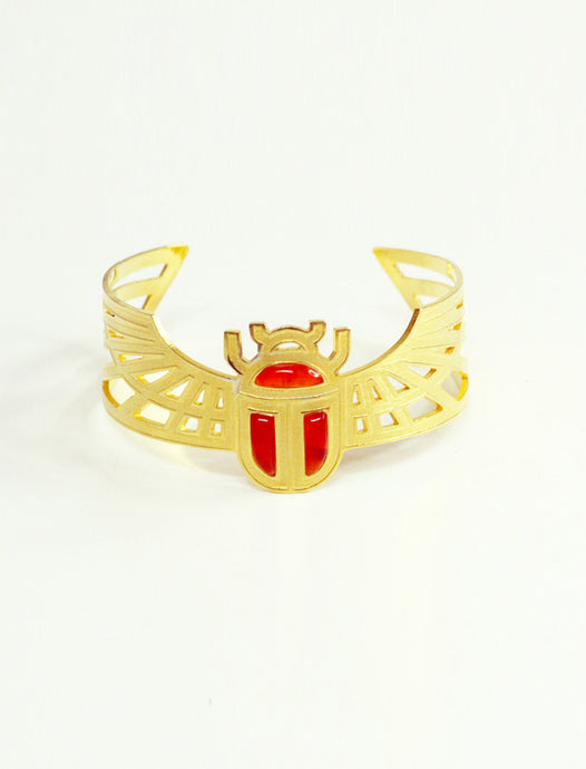 Egyptian winged Scarab Bracelet  - Agate