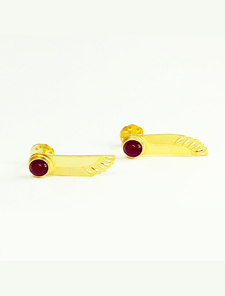 Winged Sun Earrings - Agate