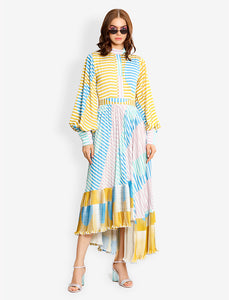 Pleated modest asymmetric dress