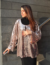Load image into Gallery viewer, Rose Gold Sequined Cardigan