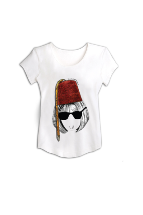 Anna white Simple T-Shirt with a simple printing by HAYA AWAD