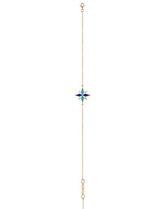 Sirius Anklet - Blue - 18K Yellow Gold