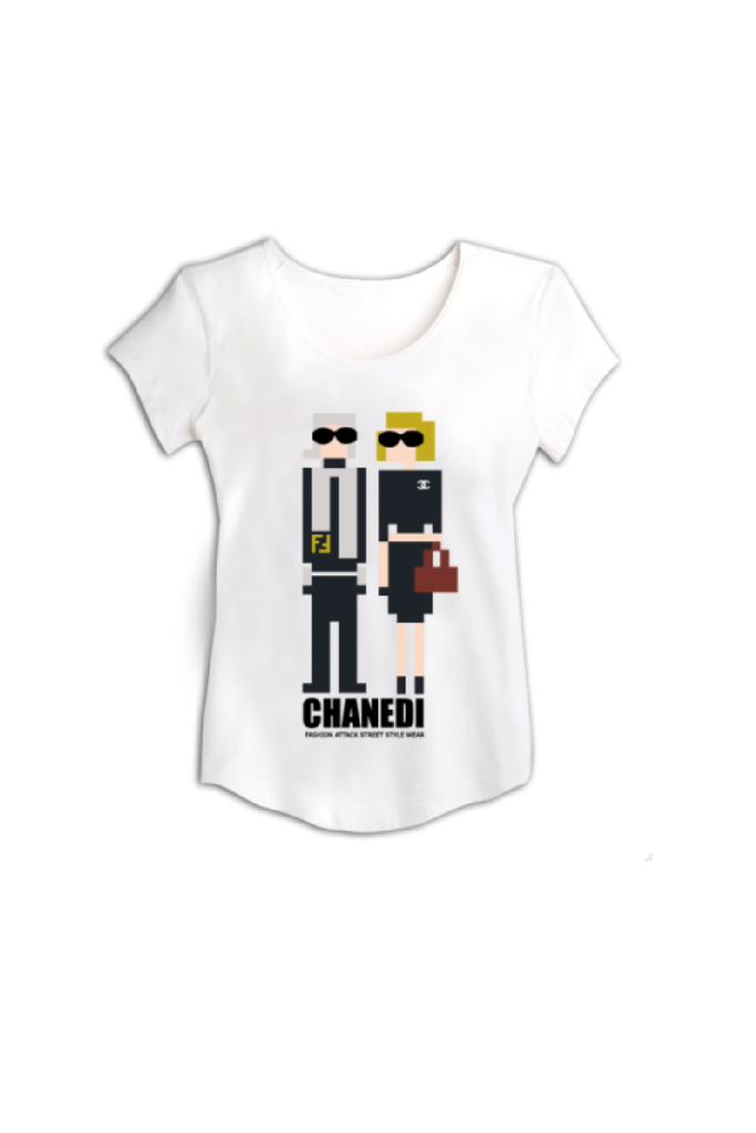 chandi whit t-shirt with simple man and woman printing by HAYA AWAD