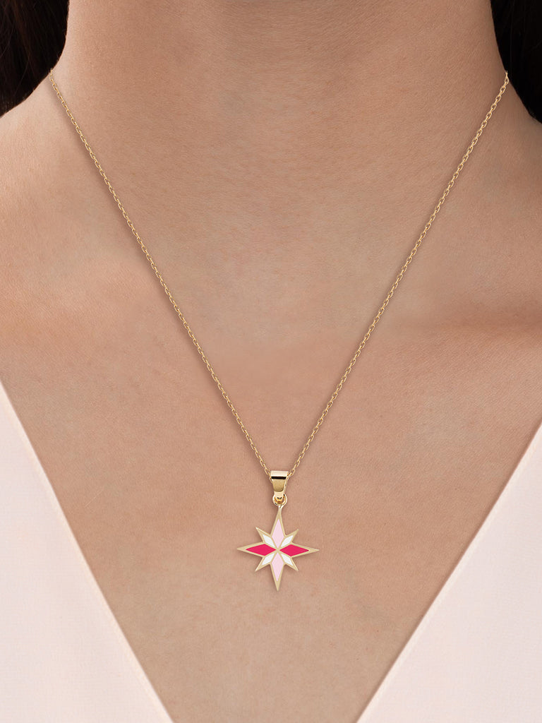 Sirius Necklace - Pink - 18K Yellow Gold