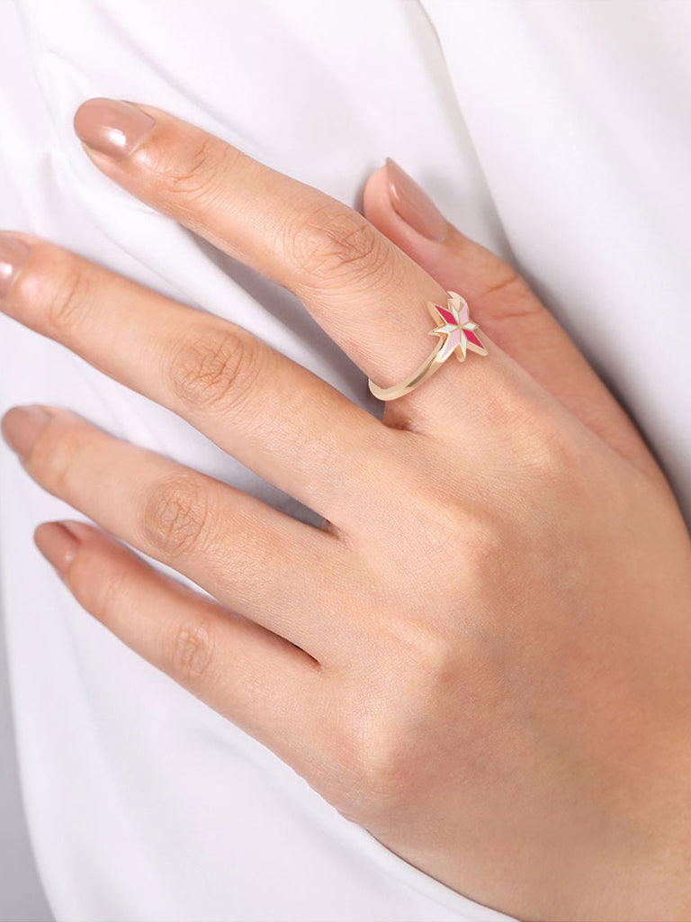 Sirius Ring - Pink enamel, 18K Rose Gold