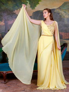 Cape-Effect Chiffon Dress