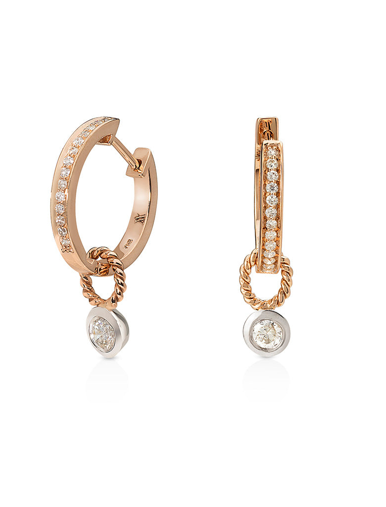 Single Diamond Hoops with Detachable Diamond Charm/Pendant- 18K Rose Gold