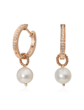Load image into Gallery viewer, Single Diamond Hoops with Detachable Pearl Charm/Pendant- 18K Rose Gold